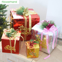 2017 New 1pcs Foldable Christmas Gift Box High Quality Window Scene Ornaments Christmas Decorations 4 Sizes Provide(China)