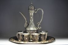 Sets Tibetan silver Set Wine appliances Jug & Cup & Tray 1 Wine Pot 6 Cup Tibet Miao Silver Decoration real Tibetan Silver Brass