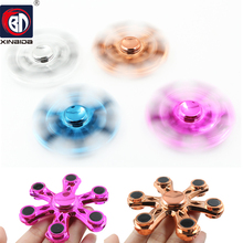 New Metal Six horn Fingertip Gyro Fidget Toy Hand Spinner Rotation Time Long For Autism and ADHD Kids/Adult Funny Anti Stress
