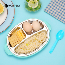 WORTHBUY 304 Stainless Steel Kids Dinner Plate With Spoon Children Food Container With 3 Compartments Kitchen Snack Plate Tray(China)