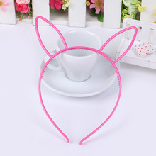 Korean Candy Color Plastic Rabit Ears Headband Small Party Hair Band Cute Girls Kids Headbands Festival Hair Accessories 2PCS/L