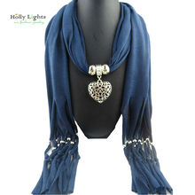 Navy Blue Scarves boho scarf necklace&pendants for Women metal Hollow heart silver Birthday Gift Fashion Jewellery bijoux hombre