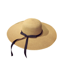 BONJEAN hottest Fashion Summer Straw Cap hats Women's Ladies Sun Hat Foldable Wide Large Brim Beach Hat Ribbon Bow Female