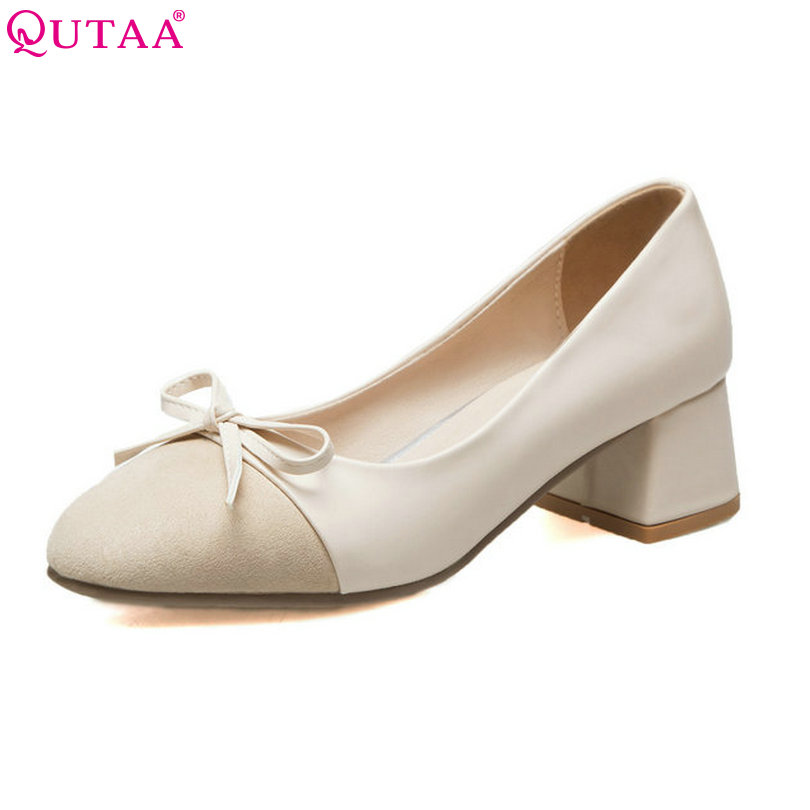 QUTAA 2018 Women Pumps PU leather Square Med Heel Shoes Platform Butterfly-Knot Lady Black Sexy Wedding Shoes Szie 34-43<br>