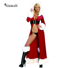 2017 Hot Sale Sexy Christmas Santa long Claus Cloak mantle mantissa  Adult Stretch Velvet Winter Fantasy Costume LC7161