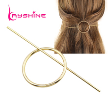 Kayshine Minimalist Hair Jewelry Gold-Color Silver Color Geometric Circle Hair Sticks Hairwear Fashion Hair  Accessories