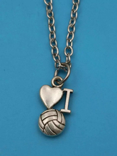 "45cm Chain Summer style Fashion Jewelry Vintage Silver""I LOVE VOLLEYBALL""Charms Pendant Statement Necklace Gift z34"