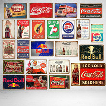 Ice Cold Drinks Decoration Coke Cola Metal Tin Signs Classic Poster Vintage Plaque Pub Bar Club Cafe Shop Home Wall Decor(China)