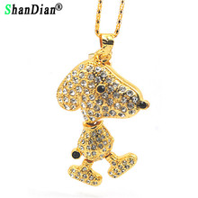 SHANDIAN Cute animal necklace crystal jewelry usb flash drive mouse jewerly keychiain puppy pendrive 32gb memory stick(China)