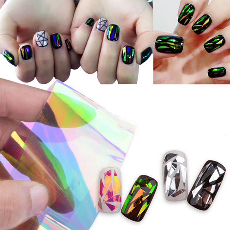 5 Different Colors/set Symphony Broken Glass Pieces Mirror Foil Tips Stencil Beauty Craft Decal Nail Star Art Sticker Cute Tools<br><br>Aliexpress