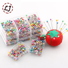 wholesale 100pcs/pack colorful kintted Pearl light locating pins patchwork sewing pins positioning needle garment accessory DIY
