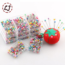 wholesale 100pcs/pack colorful kintted Pearl light locating pins patchwork sewing pins positioning needle garment accessory DIY(China)