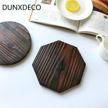DUNXDECO Table Placemat Round Hexagon Rustic Artistic Charcoal Burning Wood Tea Cup Pot Mat Home Decoration 2PCS Set