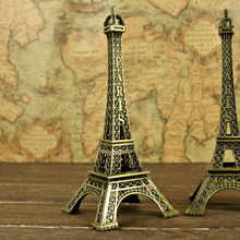 18 cm Bronze Tone Romantic Paris Eiffel Tower Figurine Statue Antique Article Vintage Home/Pub/Office Decoration(China)