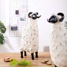 Creative Sheep Figurine Resin Lamb Crafts Home Decoration Nordic Resin Sheep Statue Animal Figurines for Office Desktop Decor