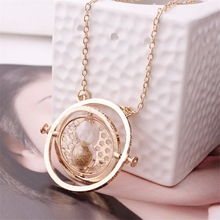Hot Sale 360 degree Time Converter Rotation Turner Necklace Hermione Granger Rotating Spins Gold Hourglass Movie jewelry(China)