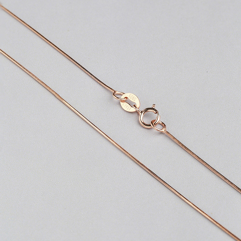 Wholesale-Sterling-Silver-Necklace-Women-925-Silver-Snake-Chain-Three-Gold-Color-0-6mm-Thinkness-Silver (2)