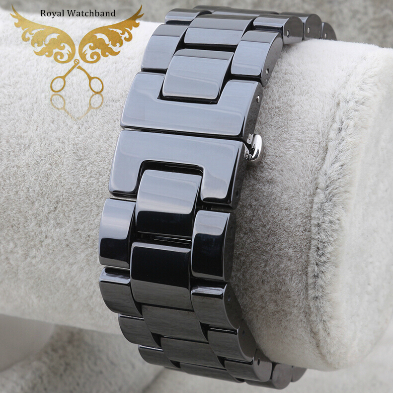 20mm Top Quality Black Diamond Ceramics Watch Bands Bracelets Deployment Butterfly Clasp Free Shipping<br>