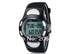 New 1005 Round Dial Digital Display TPU Rubber Watch with Pedometer Heart Rate Monitor+free shipping