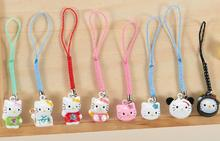 Lot 100pcs Toys Jingle Bells Cell Phone Strap Charms Cartoon Poke Keychains Hello kitty cat mixed Jingle Bells Key Ring(China)