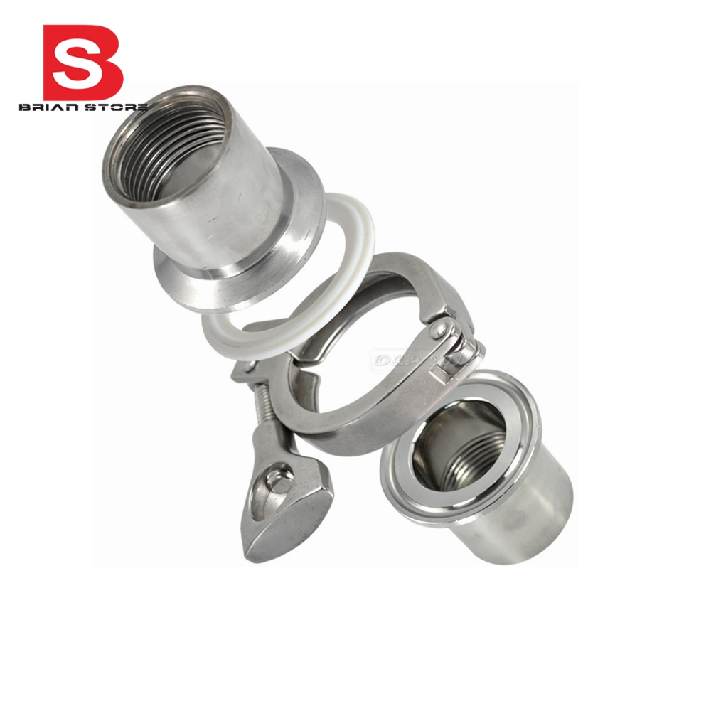 2 Pcs 1 DN25 Sanitary Female Threaded Ferrule Pipe Fittings+Tri Clamp+Gasket Stainless Steel SS304<br><br>Aliexpress