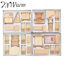 KiWarm New 29Pcs/Set 1:24 Scale Doll House Miniature Unpainted Wooden Furniture Model For Decorate Toy Home Accessory Gifts