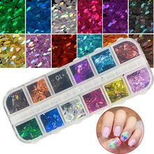 1 Set 3D Thin Sequin for Nail Glitter Polish Eye Horse Designs Colorful Sparkle Sheet Tips Manicure 12 Color DIY Flakes CHMB(China)