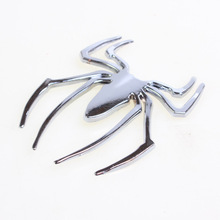 Full Metal Chrome 3D Spider Shape Car Badges Funny Personalized Decals Car Metal Sticker Emblem Silver Gold Black Free Shipping