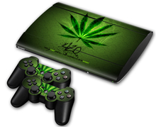 Green Weed Vinyl Skin Sticker Protector for Sony PS3 Super Slim 4000 and 2 Controller Skins Stickers