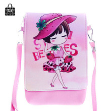 Rose Diary New Cartoon Pink girl PU leather cover zipper Children Bags women fashion phone bag kids Messenger bag Shoulder Bag