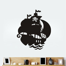 Cartoon Pirate Ship Vinyl Wall Sticker Removable Boat Wall Decal For Bedroom Home Decoration Accessories(China)