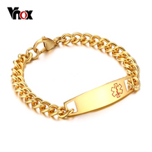 Vnox Men's Cuff Bracelet Medical Alert ID Tag 316l Stainless Steel Link Chain Wrist Men Jewelry Free Engrave