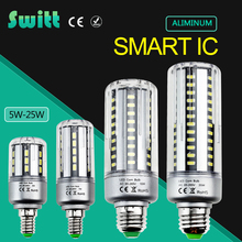 Full Aluminum Cooling E27 E14 5W 7W 9W 12W 15W 18W 20W LED Corn light lamp No Strobe AC85V-265V 5736SMD LED Spotlight Bulb(China)