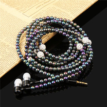 Luxury Bling Diamond earphone Crystal Pearl In-Ear Earphone Stereo Subwoofer With Mic For iphone 6 6s Plus samsung Microphone
