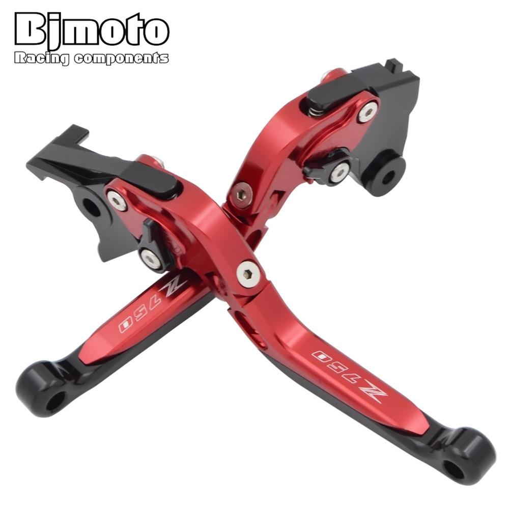 BJMOTO Logo Z750 Red CNC Motorcycle Adjustable Brake Clutch Levers For Kawasaki Z750 (not Z750S model) 2004 -2014 Brakes Lever<br>