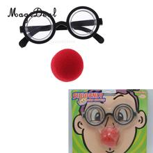 MagiDeal Clown Glasses Fake Red Nose Makeup Mask Joker Dress up Costume Props Fun Party Favor(China)
