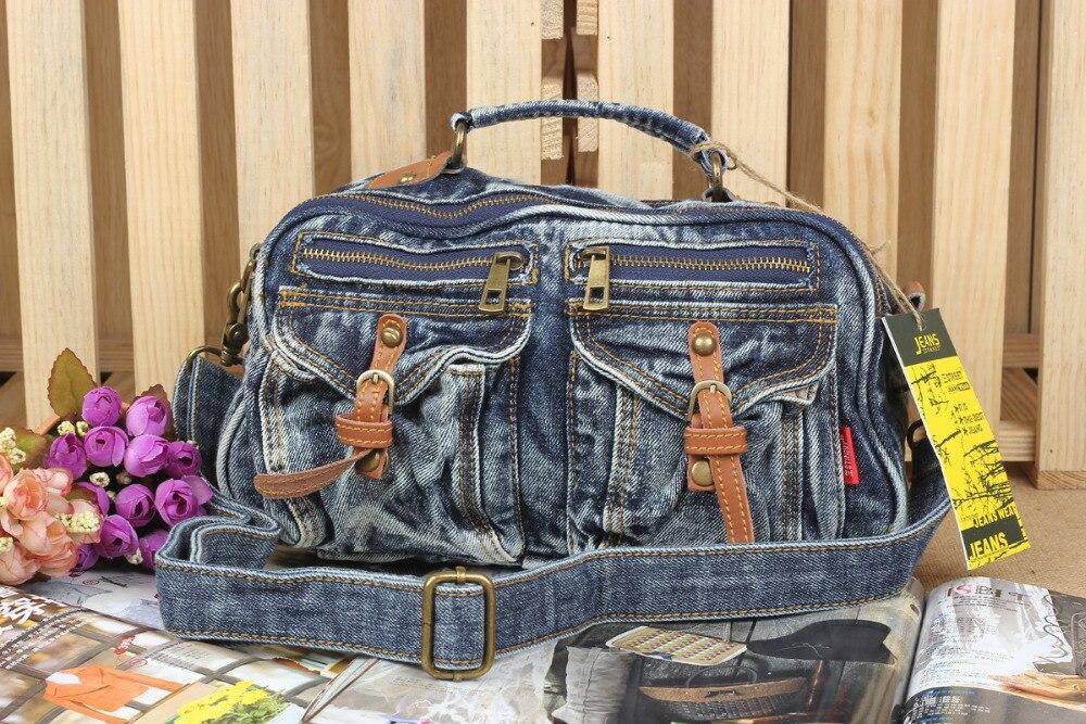 Casual Fashion Zipper Design Denim Diamonds Vintage Women Tote Bags Lady Handbags Jeans Denim Shoulder Bag Messenger bags<br>