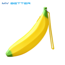 Novelty Funny Silicone Portable Yellow Banana Coin Unique Purse Bag Wallet Pouch Keyring Hot Selling(China)