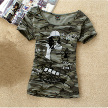 Summer Army Camouflage tshirt Women Letter Crown PrintedT-shirts Students Military Uniform Big Size 4XL Casual Tops Clothing(China)