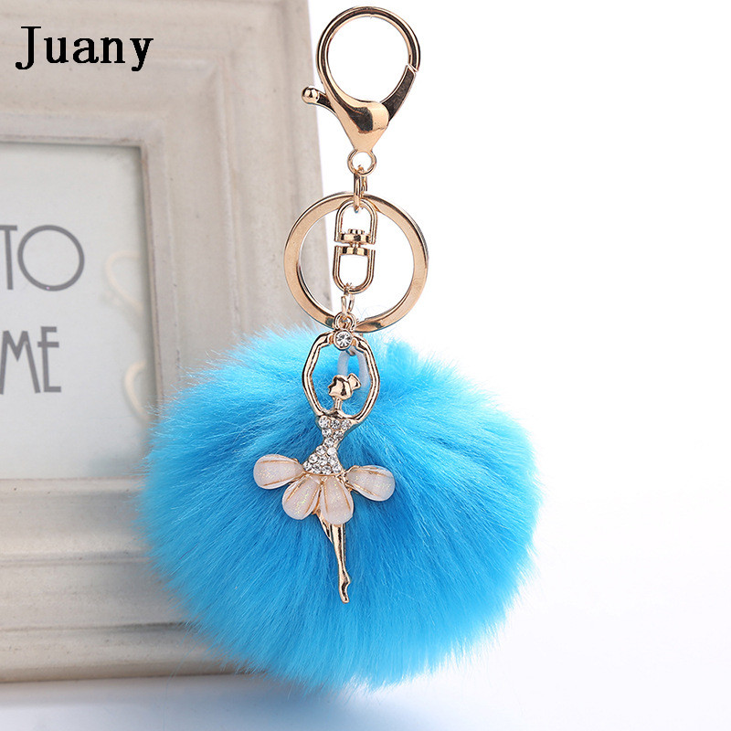 rabbit fur pompom key chain fake rabbit car keychain fur ball keychain pompom girl women charm bag  15