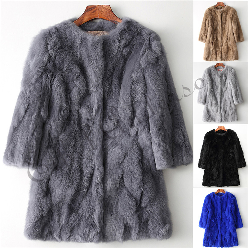 Ethel Anderson Real Rabbit Fur Coat Women's O-Neck Long Rabbit Fur Jacket 3/4 Sleeves Vintage Style