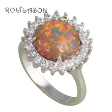 Huge Round Rings for women Orange Fire Opal Silver Stamped Health Fashion Jewelry Rings USA #6#7#8#8.5#9 OR710