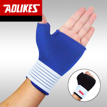 AOLIKES 1 Pair Elastic Thumb Wrap Wrist Palm Supports Sport Gloves wristband for Fitness Training Safety Weightlifting Tennis(China)