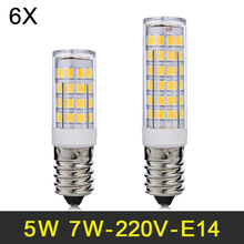 E14 LED Lamp 5W 7W Mini LED Light SMD2835 LED Bulb 220V 240V Lampada LED Corn Light For Fridge Refrigerator Chandelier 6pcs/lot(China)