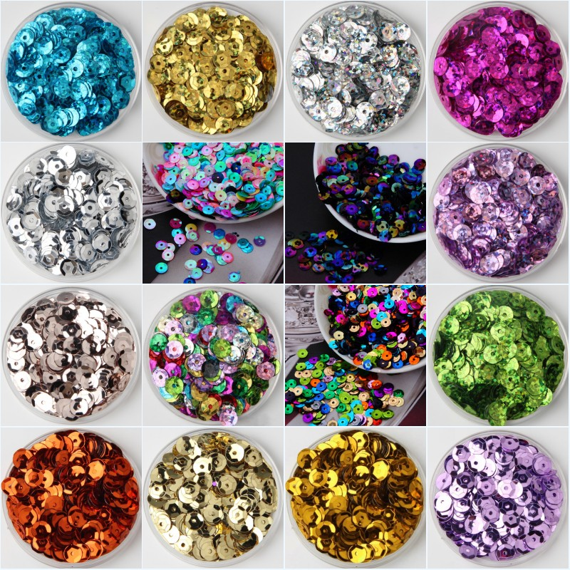 6mm Round Loose Sequins Paillettes DIY Sew-on Clothing Bag Shoes Wedding Decor