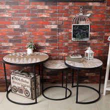 Industrial simple wind modern minimalist metal round tea table living room sets three leisure tea table retro coffee table(China)
