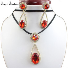 jiayijiaduo Black Fashion Pendant Jewelry Set Necklace Earrings UP Cute Women Skirt Accessories red(China)