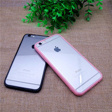 With Dust Plug TPU Frame + Acrylic Back Cover Candy Colors Clear Transparent Phone Case For iPhone 5 5s SE 6 6s 6 Plus 6plus 7