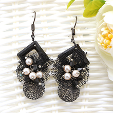 Hesiod Black Gothic Lace Earrings for Women Geometric Shaped Crystal Drop Dangle Earrings Vintage Bridal Wedding Party Jewelry