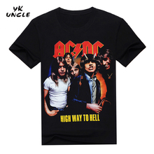 2016 New Camisetas AC/DC Band Rock T Shirt Mens T-shirts acdc Print Casual Tshirt O Neck Hip Hop Short Sleeve Plus Size,YK UNCLE